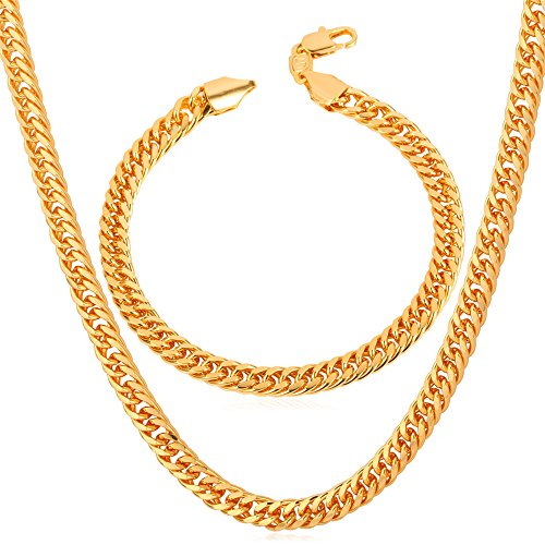 u7 18k gold plated hip hop jewelry set of 6mm