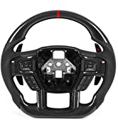 KIMISS Steering Wheel, Carbon Fiber Steering Wheel Nappa Perforated Leather with Paddle Shifters ...