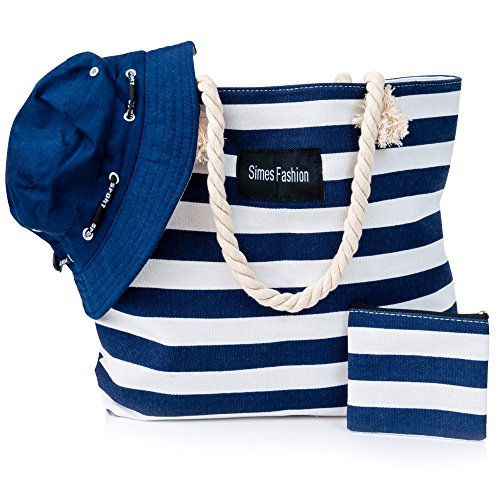 Simes Beach Tote, Large Canvas Bag wt Zipper, Summer Travel Totes for Women
