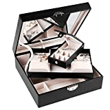 J.Rosée Travel Black Leather Jewelry Box Lockable Makeup Storage Case with Mirror