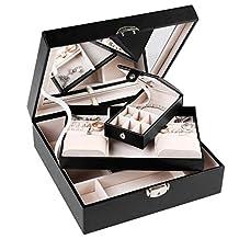 J.Rosée Travel Black Leather Jewelry Box Lockable Makeup Storage Case with Mirror