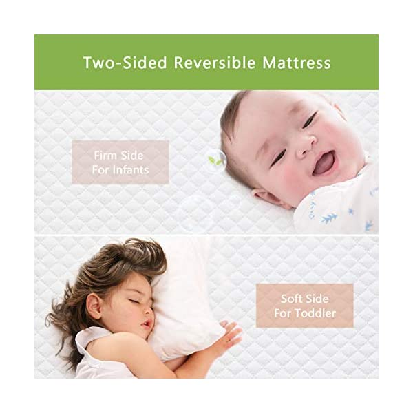 Dourxi Crib Mattress and Toddler Bed Mattress, Dual Sided Sleep System, Firm Side for Infants and Plush Soft Side for Toddlers, Breathable Foam Baby Mattress with Removable Cover 2