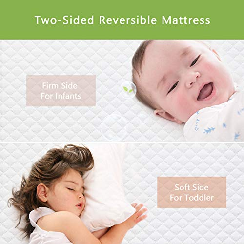 Dourxi Crib Mattress and Toddler Bed Mattress, Dual Sided Sleep System, Firm Side for Infants and Plush Soft Side for Toddlers, Breathable Foam Baby Mattress with Removable Cover