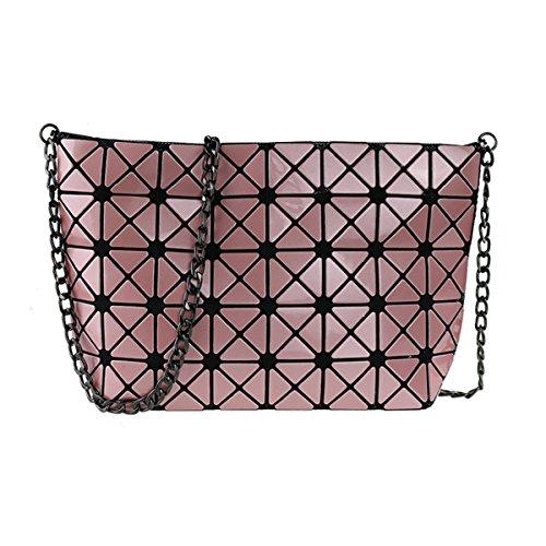 For Cross Joint Yellow Women With Pu Pink Flada Ladies Split Leather Chain Handbags Lattice Plaid Geometric Shoulder body Hologram Diamond Bags vqpfxYw