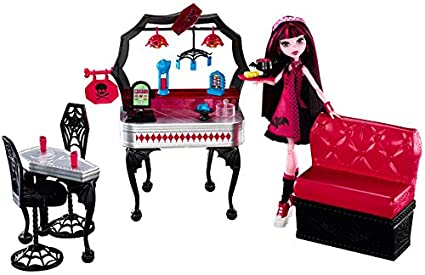 Monster High Die-Ner and Draculaura Playset and Doll  sc 1 st  Amazon.com : monster high table and chairs - Cheerinfomania.Com