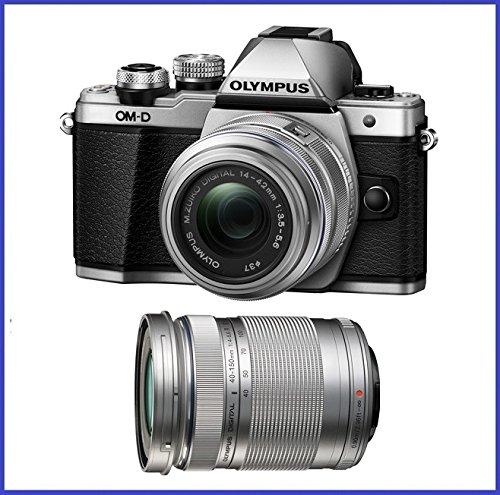 Olympus OM-D E-M10 Mark II Mirrorless Micro Four Thirds Digital Camera with 14-42mm II R Lens [Silver] & Olympus M.Zuiko Digital ED 40-150mm f/4.0-5.6 R Lens [Silver]