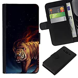 - DARKNESS BLACK TIGER ANIMAL BLUE FIERY FIRE - - Prima caja de la PU billetera de cuero con ranuras para tarjetas, efectivo desmontable correa para l Funny House FOR Samsung Galaxy A3