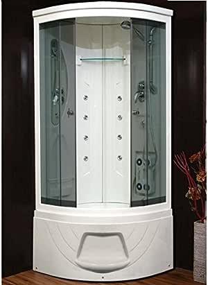 Box cabina hidromasaje semicircular con bañera y asiento 80 x 80 ...