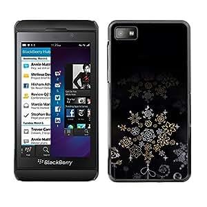 YOYO Slim PC / Aluminium Case Cover Armor Shell Portection //Christmas Holiday Black Snow Flake Pattern 1055 //Blackberry Z10