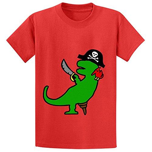 Pirate Dinosaur T Rex Teen Crew Neck Customized Tees Red