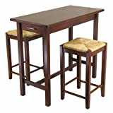 Winsome Wood Kitchen Island Table with 2 Rush Seat Stools 2 Cartons, 3-Piece