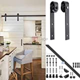 6ft Black Iron Sliding Barn Wood Door Hardware Track Set I Style w/ Sliding Track + Door Stoppers+ M10 Bolts + Wall Hangers + Rollers + Floor Guide + Anti-jump Disks + Accessories Kit