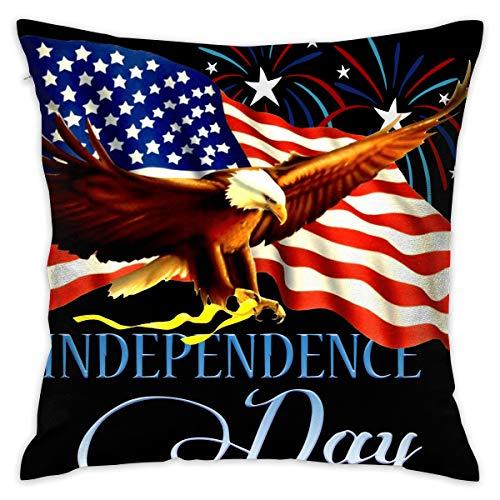 FRS Ltd American Flag Bald Eagle Throw Pillow Cases Square Flax Cushion Cover for Cars Sofa Bars Home Decorative 18x18 Pillowcase