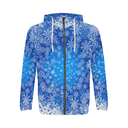 INTERESTPRINT Custom Blue Christmas Snowflakes Men's Full-Zip Zipper Hoodies Sweatshirt S