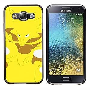Qstar Arte & diseño plástico duro Fundas Cover Cubre Hard Case Cover para Samsung Galaxy E5 E500 (Yellow Monster empuje Fox)