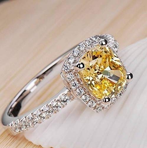 - maket (Size US 4~13) Wedding Birthstone Bride Engagement Clear/Yellow/Pink Diamond Ring 925 Sterling Silver Ring Gifts(Pink,4.5)