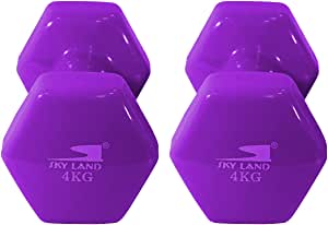 Classical Head Vinyl Dumbbell Set, 4kg x 2 - Purple, EM-9219-4