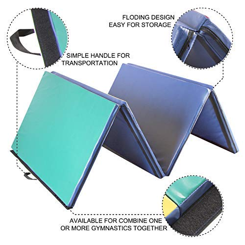 Easyzon Folding Gymnastics Mat Thick Exercise Tumbling 4 Panel Mat with Carrying Handle for Gym Fitness Exercise Aerobics, 4'x8'x2 (Colorful)