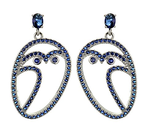 Gnzoe Women Earrings Gold Plated Hollow Eule Pendant Stud Glitter Women Stud Silver with Blue CZ
