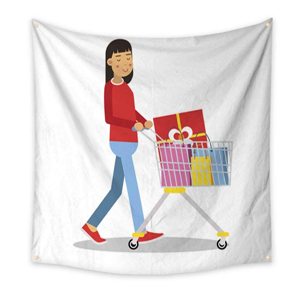 Anniutwo Party Decorations Tapestry Young Brunette Woman in Casual Clothes Walking with a Shopping cart Cartoon Character Vector Illustratio Blanket Home Room Wall Decor 70W x 70L Inch