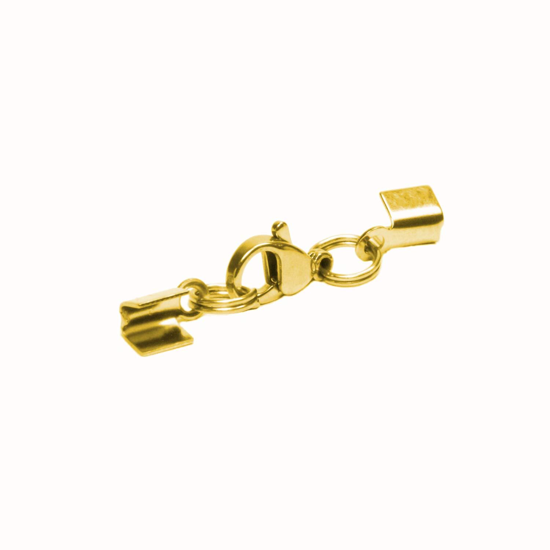 7 Kette Silber- Goldfarben 9 mm mit//ohne Karabiner u Messing Endkappen Ø 3 6