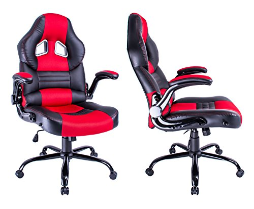 Office Chair Swivel Chair Gaming Racing Recliner High Back Thick Padded Black