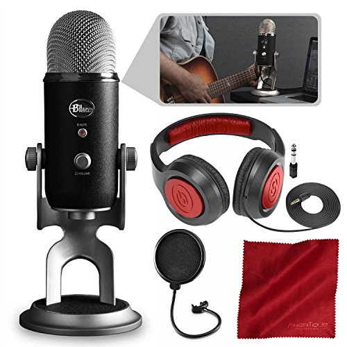 Blue Yeti Pro Studio All-In-One Pro Studio Vocal System w/Recording Software and Samson Closed-Back Headphones Accessory (Pro Tools Vocal Studio)
