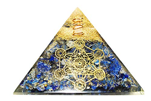 - YATHABI Lapis Lazuli Crystal Orgone Pyramid with Seven Chakra Symbol & Crystal Point Energy Generator for Aura Cleansing Chakras Balancing & Reiki Healing Size:- 3-3.5 Inches