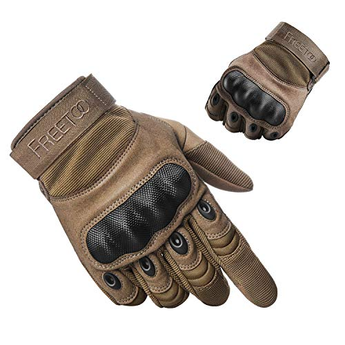 FREETOO Tactical Gloves Military Rubber Hard Knuckle Outdoor Gloves (Tan Full Finger, L:9