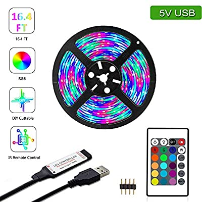 YETAIDA 16.4ft LED Strip Light 5V USB RGB TV Backlight 2835 Lighting for TV Room Holiday Decoration with 24 Keys Remote Controller