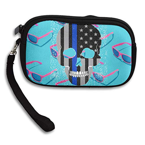 Printing Thin Flag Blue American Line Receiving Bag Portable Skull Police Deluxe Purse Small 0w60g4q