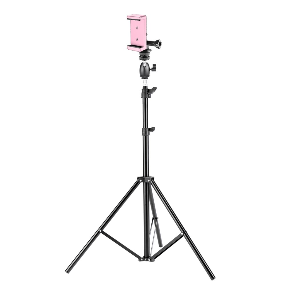 Neewer 75 inches/190 centimeters Photo Studio Light Stand with Mini Ball Head, Hot Shoe Mount Adapter, Adapter for GoPro and Pink Phone Clip Holder for DSLR Cameras, GoPro and Cellphone Photography by Neewer
