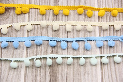 Yalulu 10Yards Pom Pom Trim Ball Fringe Ribbon DIY Sewing Accessory Lace for Home Party Decoration (Beige)