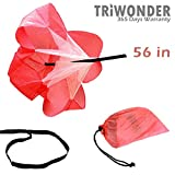 Triwonder 40 or 56 inch Speed Training Resistance Parachute Running Chute Power (Red - 56in)