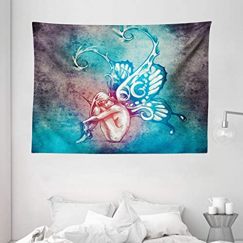 Ambesonne Butterfly Tapestry, Fairy with Butterfly Wings Renewal Female Rebirth Psyche Lightness of Being, Wide Wall Hanging for Bedroom Living Room Dorm, 80 X 60 , Purple Blue