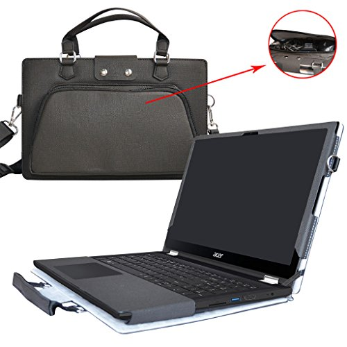 Acer Spin 3 Case,2 in 1 Accurately Designed Protective PU Leather Cover + Portable Carrying Bag For 15.6