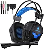 Sades SA921 PS4 Gaming Headset PC 3.5mm Wired Stereo Computer Headphones with Microphone Flexible,Volume Control Light Weight Over Ear Noise Canceling for New Xbox One Mac Gamer,Black/Blue