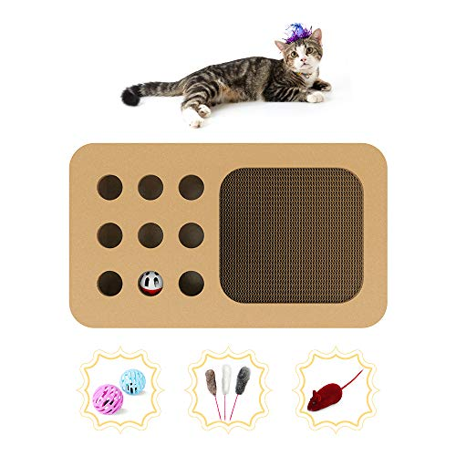 PUPMATE Scratching Board & Cat Puzzle Box,2 in 1 Design Corrugated Scratcher for Cats with 1 Ball, 1 Mouse & Teaser Toy