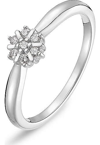 Christ Diamonds Damen Ring 375er Weissgold 7 Diamant Ca 0 10 Karat