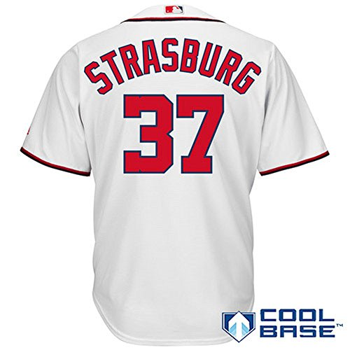 Youth Washington Home Jersey Nationals (Stephen Strasburg #37 Washington Nationals Youth Home Cool Base Replica Jersey (Youth Medium 10/12))