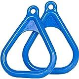 Swing Set Stuff Plastic Trapeze Rings with SSS Logo Sticker, Blue