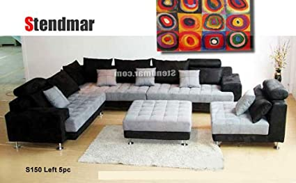 5pc Multifunction 2-tone Microfiber Big Sectional Sofa Set S150LBG