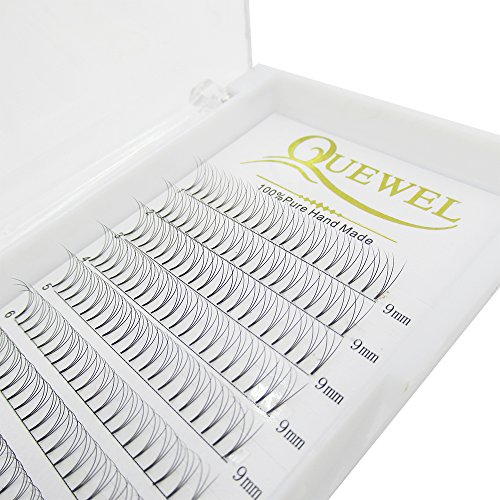 Russian Volume Premade Fans Eyelashes Extension 3D Thickness 0.07/0.10 Curl C/D Length 8-18mm by Quewel (3D-0.07-C, 9mm)