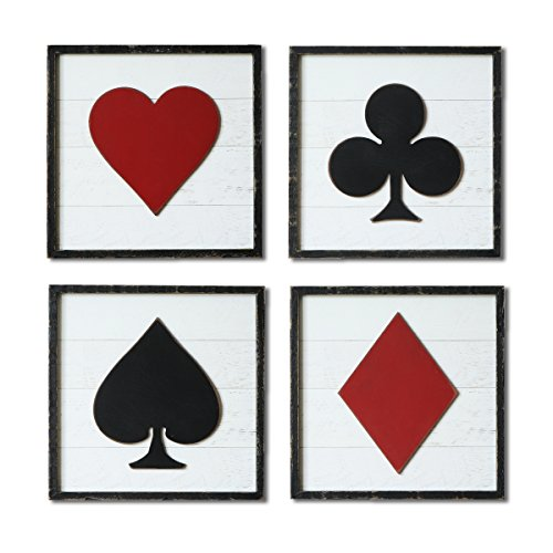 NIKKY HOME Wood Framed Poker Sign Square Wall Art - game room wall decor