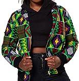 M&S&W Women's Long Sleeve Print Dashiki Africa Baseball Jacket Green M
