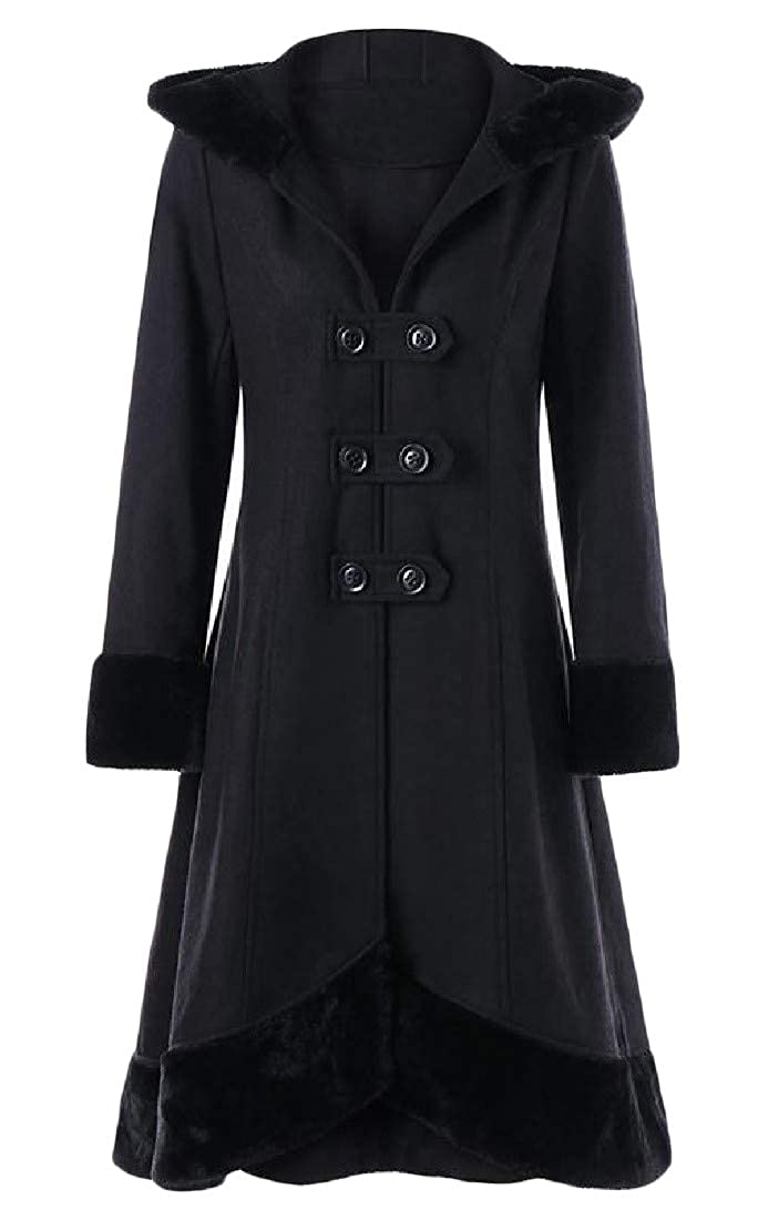 Cromoncent Women's Outwear Hooded Faux Fur Collar Medieval Steampunk Pea Coats