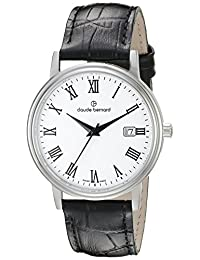 Claude Bernard Men's 53007 3 BR Classic Gents Analog Display Swiss Quartz Black Watch