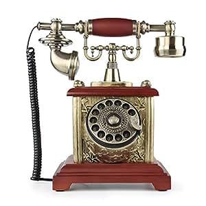 LNC Madera Teléfono Fijo Analógico Retro