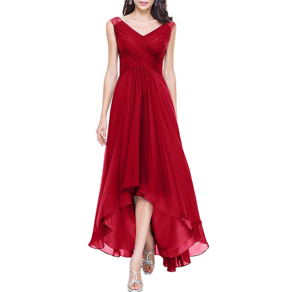 Red qibinfs Women Evening Party Dress VNeck Hi Low Short Sleeves Backless Dress