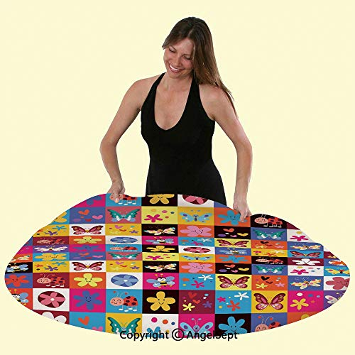 Elastic Edged Round Table Cover Tablecloth,Butterflies Beetles Flowers Bees Bugs Hearth Spring Lovely Hippie Season Anti-Skid & Water Proof, Fits Tables Up to 48 inch Diameter,Multi